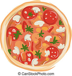 Pizza with tomato and mushrooms, sketch for your design