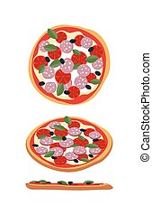 Pizza with tomatoes and sausage. Food top view, side view.