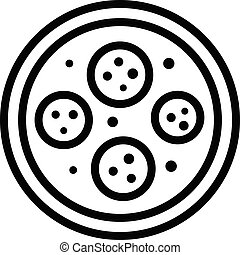 Pizza with tomatoes icon, outline style