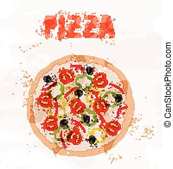 Pizza with tomatoes of colorful spots
