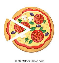 Pizza with Tomatoes, Olives, Mushrooms and Herbs