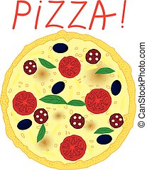 Pizza with tomatoes, olives, salami and basil on white background