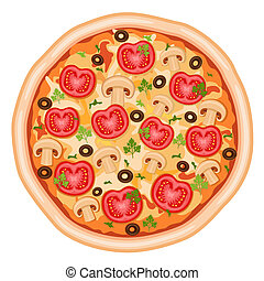 Tasty and healthy - pizza Margherita with tomatoes, mushrooms and olives. Isolated over white background. Vector file saved as EPS AI8, all elements grouped, no effects, no gradients, easy print.