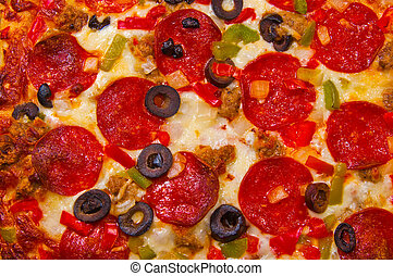 Pizza with Toppings - A pizza with Pepperoni, Sausage,...