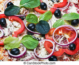 pizza with vegetables and cheese