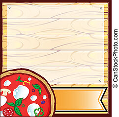 pizza with wood backgraund