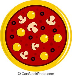 Pizza with yolk, olives, mushrooms, tomato icon