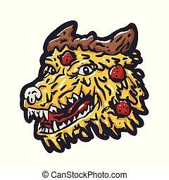 Pizza wolf cartoon funny