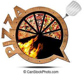 Pizza - Wooden Speech Bubble - Wooden icon or symbol in the...