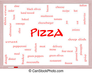 Pizza Word Cloud Concept on a Whiteboard