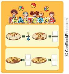 pizza, worksheet, math, fractions