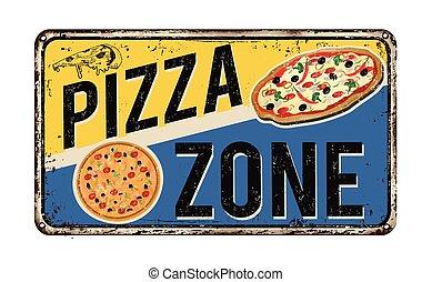 pizza, zona, vendimia, metal oxidado, señal