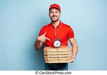 pizzas., fond, livrer, cyan, ponctuel, rapidement, deliveryman