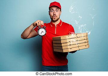 pizzas., fond, rapidement, cyan, courrier, ponctuel, livrer