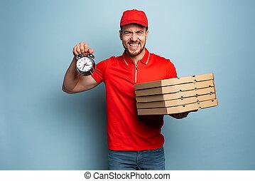 pizzas., rapidement, livrer, cyan, ponctuel, deliveryman, fond