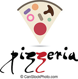 Pizzeria and Italian restaurant emblem with a slice of pizza