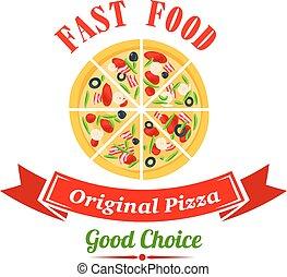 Pizzeria badge design template with italian pizza
