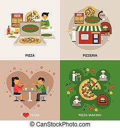 pizzeria, begriff, satz, heiligenbilder