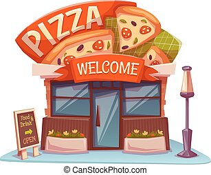 Pizzeria building with bright banner. Vector illustration.
