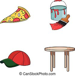 pizzeria, clothes and other web icon in cartoon style.art, furniture icons in set collection.