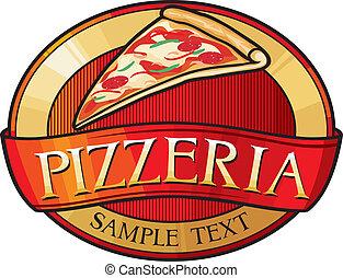 pizzeria, conception, étiquette