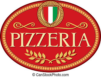 pizzeria, design, etikett