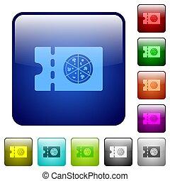 Pizzeria discount coupon color square buttons