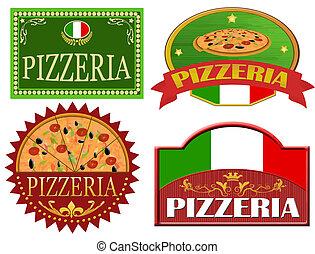 pizzeria, etiquetas