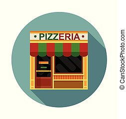 Pizzeria front view flat icon, vector illustration