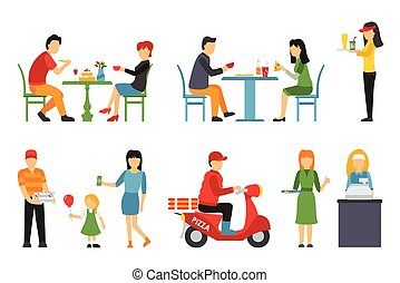 Pizzeria icons set. People in a flat interior. Pizza conceptual web vector illustration.