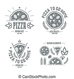 Pizzeria labels, badges and design elements. Grey print on a...