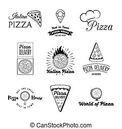 Pizzeria labels, badges and design elements. Grey print on a white background