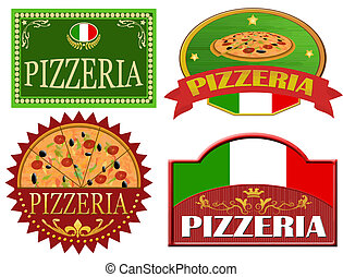 Pizzeria labels - Set of pizzeria labels design on white,...