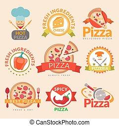 Pizzeria labels set - Pizzeria hot pizza fresh ingredients ...