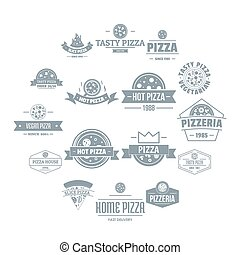 Pizzeria logo icons set, simple style