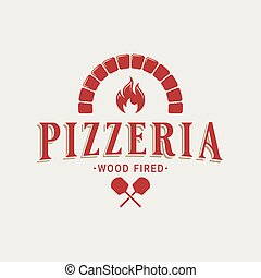 Pizzeria logo with oven shovel. Wood fired pizza