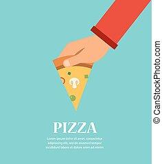 pizzeria, mão., restaurante, pedaço, modelo, pizza