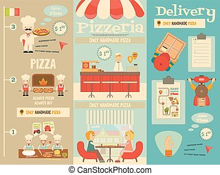 Pizzeria. Meal in Cafe and Pizza Making. Flat Design. Min ...