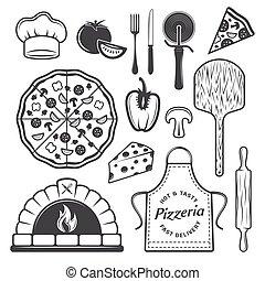 Pizzeria Monochrome Elements Set
