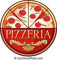 pizzeria, ontwerp, etiket