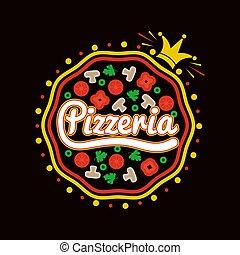 pizzeria, pizza, korona, logotype, promocyjny