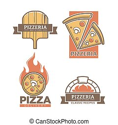 Pizzeria pizza vector icons for Italian restaurant delivery ...