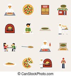 pizzeria, satz, heiligenbilder