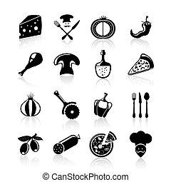 pizzeria, satz, schwarz, heiligenbilder