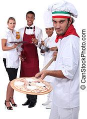 Pizzeria staff