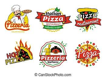 pizzeria, vecteur, pizza, illustration, restaurant