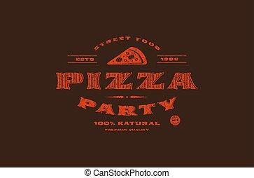 pizzeria, vektor, bestand, schablone, etikett
