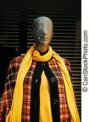 plášť, hrdlo, šátek, manekýnka