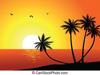 pláž, grafické pozadí, obrazný
