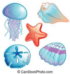 pláž, ikona, dát, ilustrace